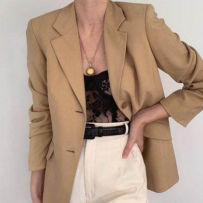 Deadstock Vintage Camel Silk Blazer