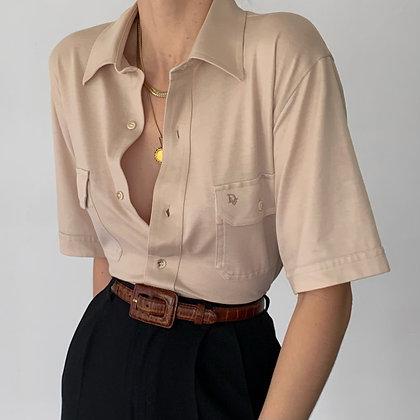 Vintage Dior Ecru Knit Button Up Blouse