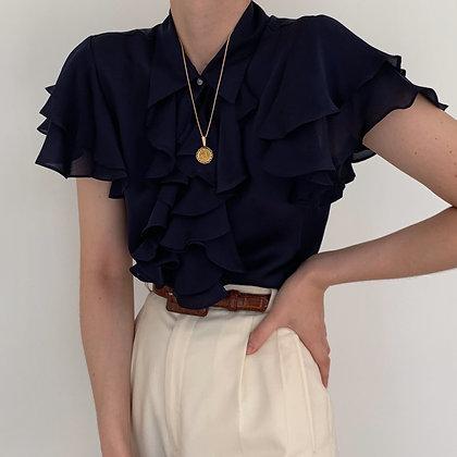 Vintage Ralph Lauren Midnight Silk Blouse