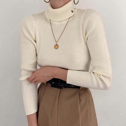 Vintage Ralph Lauren Ivory Ribbed Turtleneck