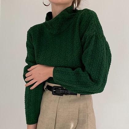 Vintage Evergreen Mock Neck Knit Sweater