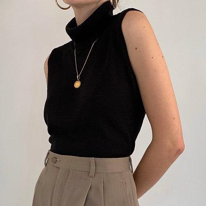 Vintage Black Silk Knit Sleeveless Turtleneck