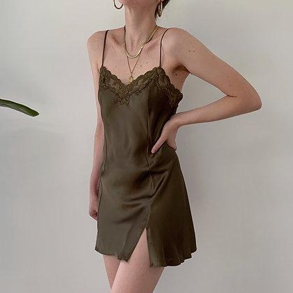 Vintage Victoria's Secret Olive Satin Slip Dress