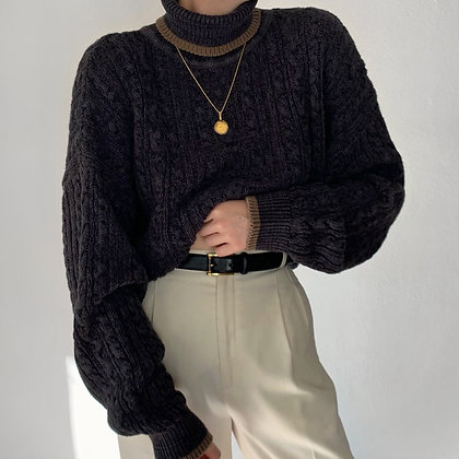 Vintage Charcoal Cable Knit Turtleneck Sweater