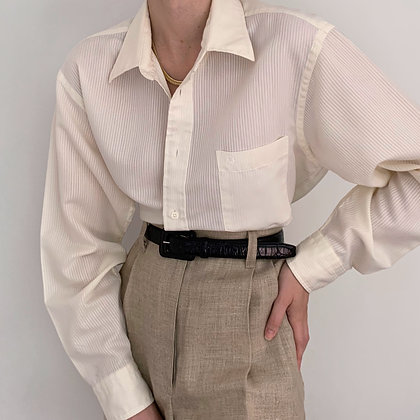 Vintage Dior Ivory Striped Button Up Blouse