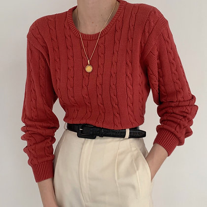 Vintage Persimmon Cable Knit Sweater