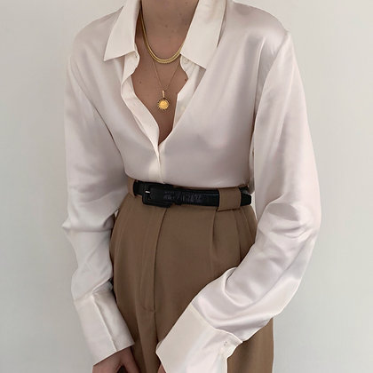 Deadstock Vintage Pearl Silk Charmeuse Blouse