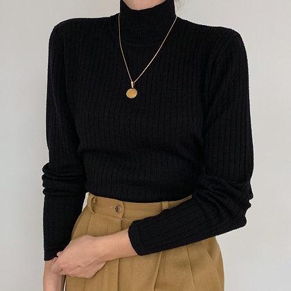 Vintage Black Merino Wool Mock Neck Ribbed Knit