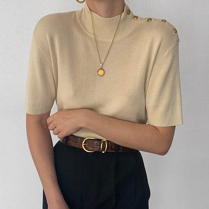 Vintage Ralph Lauren Creme Buttoned Knit Top