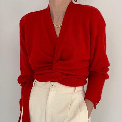Vintage Poppy Red Cashmere Wrap Knit