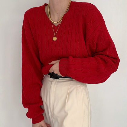 Vintage Cherry Cable Knit V-Neck Sweater