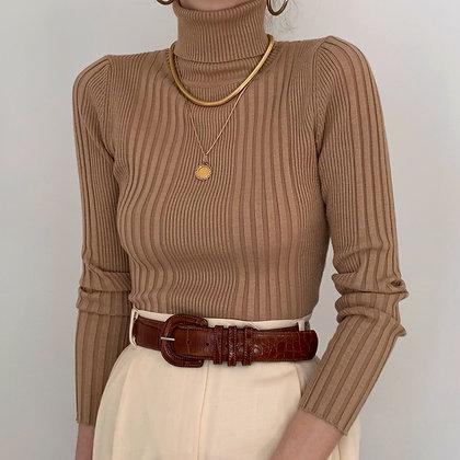 Vintage Camel Ribbed Knit Turtleneck