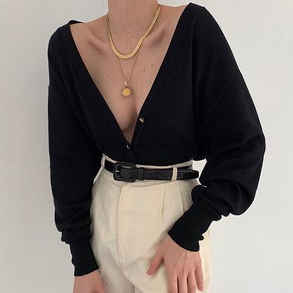 Favorite Vintage Noir Wool Knit Cardigan
