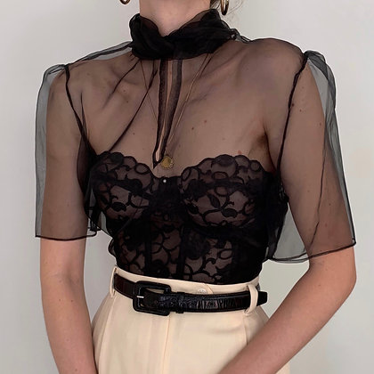 Deadstock Vintage Noir Silk Organza Bow Top