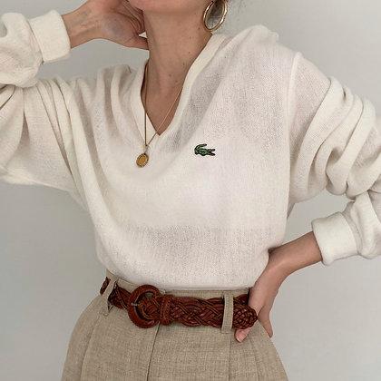 Vintage Lacoste White V-Neck Knit Sweater
