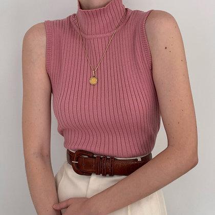 Vintage Rose Ribbed Sleeveless Mock Neck