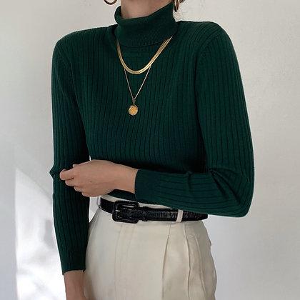 Vintage Pine Ribbed Knit Turtleneck