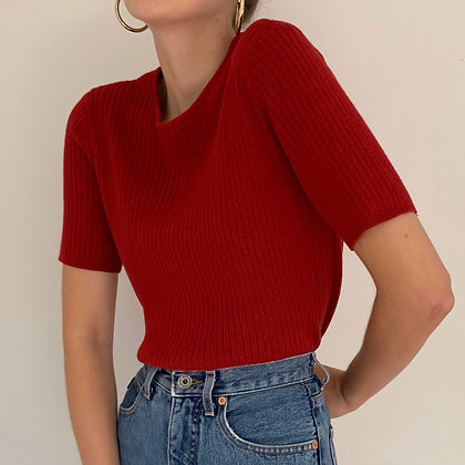 Vintage Cherry Red Cable Knit Top