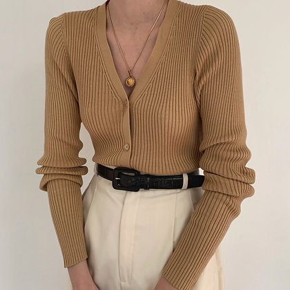 Vintage Camel Silk Ribbed Knit Cardigan