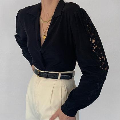Vintage Noir Silk Floral Cutout Sleeve Blouse
