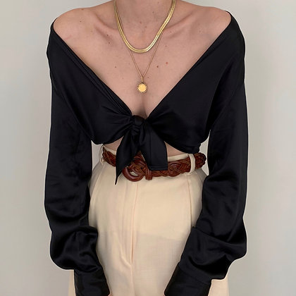 Vintage Noir Silk Charmeuse Button Up