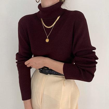 Vintage Aubergine Ribbed Knit Turtleneck