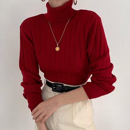 Vintage Ruby Wool Ribbed Knit Turtleneck