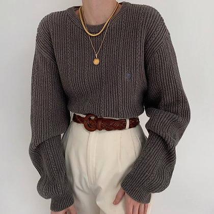 Vintage Chaps Stone Ribbed Knit Sweater
