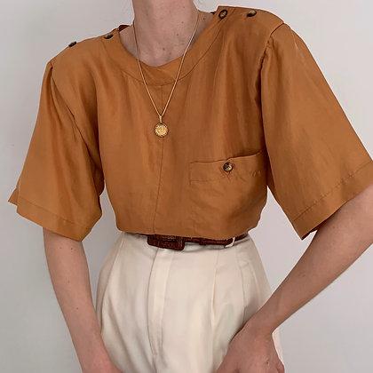 Vintage Ochre Silk Buttoned Blouse