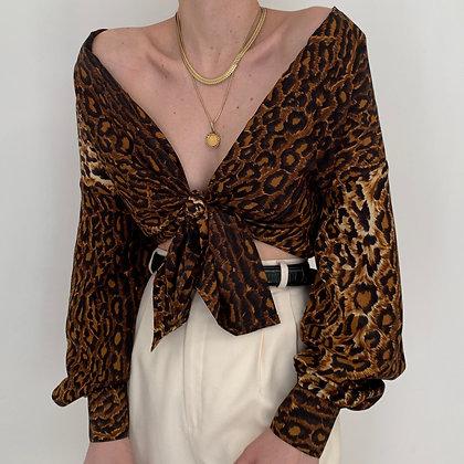 Vintage Leopard Print Silk Button Up Blouse