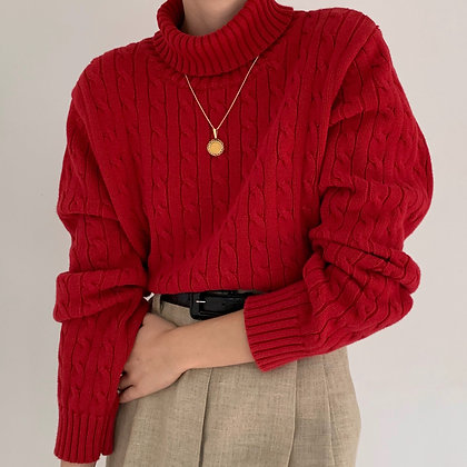 Vintage Cherry Tommy Hilfiger Cable Knit Sweater