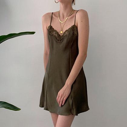 Vintage VS Olive Satin Slip Dress