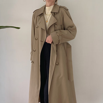 Vintage Sand Double-Breasted Trench Coat