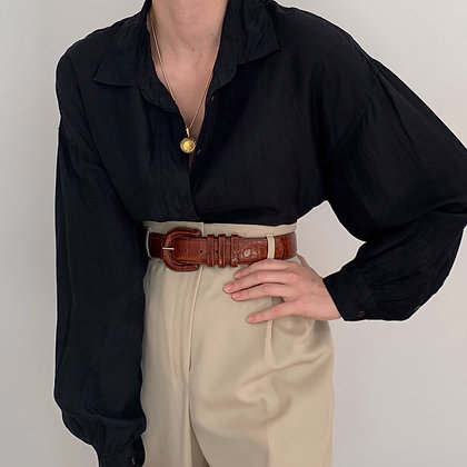Vintage Onyx Silk Button Up Blouse