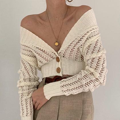 Vintage Cream Crochet Cropped Cardigan