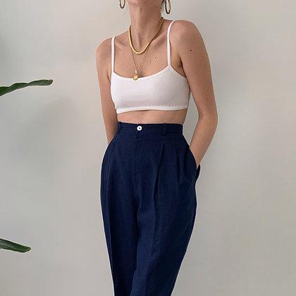 Vintage Navy Linen Trousers (26-27W)