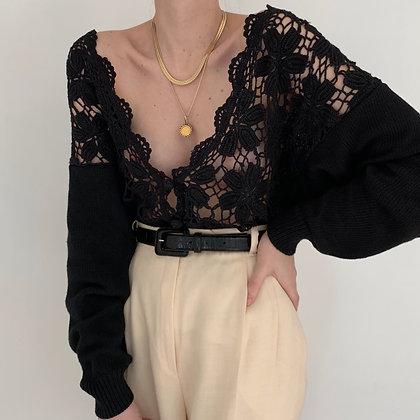 Vintage Noir Crochet Knit Cardigan