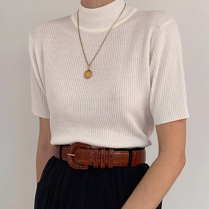 Vintage White Ribbed Mock Neck Shirt