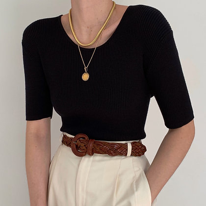 Vintage Onyx Silk Blend Ribbed Knit Top