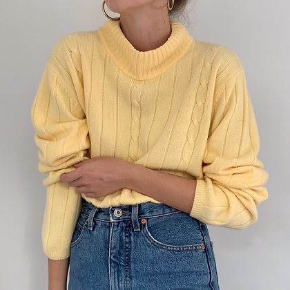 Vintage Buttercream Mock Neck Knit Sweater