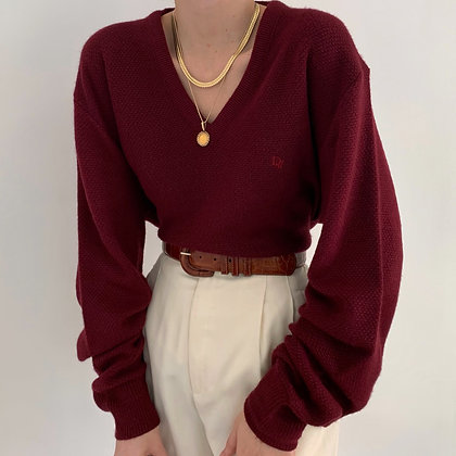 Vintage Dior Merlot V-Neck Knit Sweater