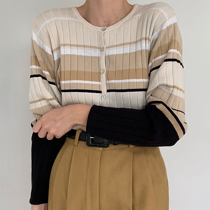 Vintage Neutral Striped Knit Cardigan