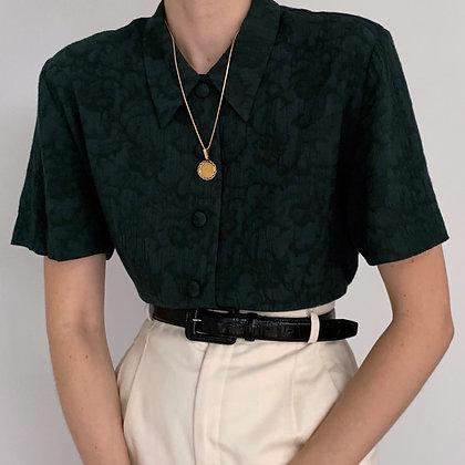 Vintage Evergreen Floral Button Up