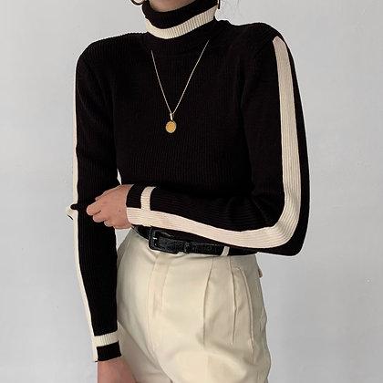 Vintage Noir Striped Ribbed Knit Turtleneck