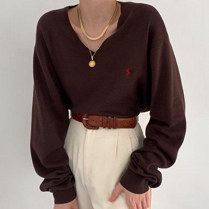 Vintage Ralph Lauren Chocolate Knit V-Neck