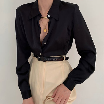 Vintage Onyx Silk Charmeuse Button Up