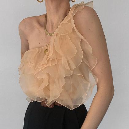 Vintage Peach Silk Ruffled One Shoulder Top