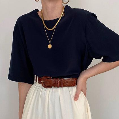 Vintage Saks Navy Silk Boxy Shirt