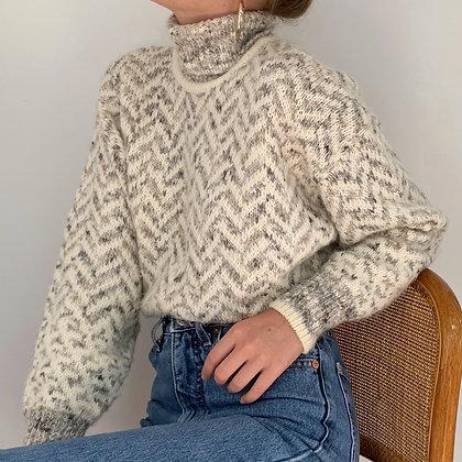 Vintage Neutral Fuzzy Knit Turtleneck Sweater