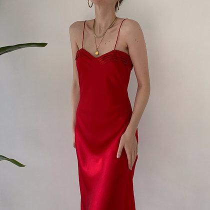 Vintage Victoria's Secret Ruby Silk Midi Slip Dress